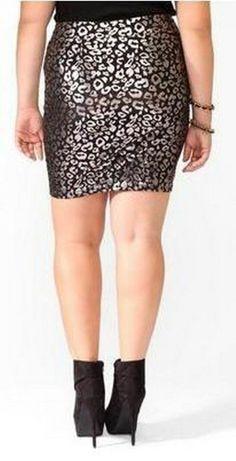 55412e61712 NEW FOREVER 21 PLUS SIZE 1X BODYCON SKIRT BLACK METALLIC Forever 21 Skirt