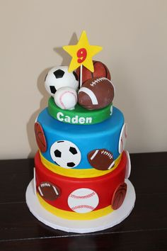 Sports Ball Cake For a friend's son for his Birthday - he designed the cake after watching Cake Boss - the primary requirement was. Sports Birthday Cakes, Sports Themed Birthday Party, Ball Birthday Parties, Birthday For Him, Cool Birthday Cakes, 9th Birthday, Sports Party, Sport Cakes, First Birthdays