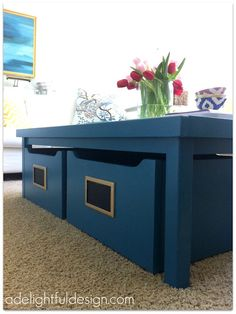 A Delightful Design: living room before and after: painted PB table. maybe can paint his nilo train table? Sunroom Playroom, Playroom Decor, Playroom Ideas, Piano Room Decor, Kids Play Area, Kid Spaces, Play Spaces, Kids Storage, Pottery Barn Kids