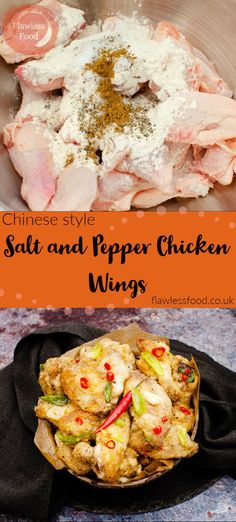 A fantastic cheap, quick and easy way to recreate Chinese style salt and pepper chicken wings at home. We show you to cut chicken wings into wingettes and drumettes. How to make Chinese chicken wings by coating with flour, Chinese five-spice, salt and pepper and how long to cook wings in the oven. Once cooked, the salt & pepper wings are tossed in sesame oil with garlic, red chilli peppers and spring onions, like the restaurant or takeaway wings. Baked Chicken Recipes, Turkey Recipes, Wings In The Oven, Salt And Pepper Chicken, Chicken Wings Spicy, Tailgating Recipes, Chinese Chicken, Chicken Stuffed Peppers, Red Chilli