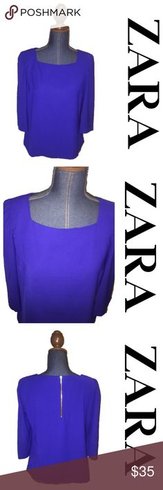 """Royal blue squared neck top Pretty royal blue top from Zara, size medium. Boat neckline. Length 23"""", chest 19"""" Zara Tops Blouses"""