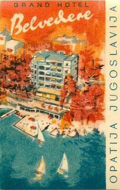 Grand Hotel Belvedere Opatija Jugoslavia Beautiful Artistic Luggage Label   eBay