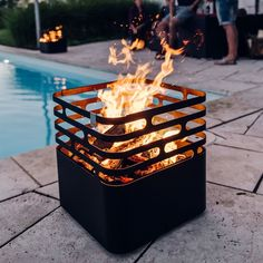 Buy cfc fire basket online ➜ Order Cube fire basket cheap and free delivery from € inc Picture Cube, Outdoor Fire, Outdoor Decor, Brick Bbq, Fire Basket, Garden Design Plans, Fire Pit Designs, Fire Bowls, Diy Garden Projects