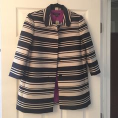 Ann Taylor 3/4 sleeve jacket NWT Ann Taylor cream and navy stripe three quarter length sleeve lightweight jacket. Hits slightly below the hip when worn. Great office place staple! Ann Taylor Jackets & Coats