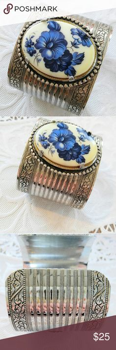 """VINTAGE Flower Cabochon Silver Cuff Bracelet Wow!  What a bracelet!   Wide cuff vintage bracelet.  Large framed ceramic cabochon with blue flowers.  Silver with lots of detailing. Good vintage condition.  I only notice a few bits of tarnish inside the cuff.   It is about 2"""" wide.  It is adjustable by bending it wider or smaller to fit most wrists.   PickinChickJewelry sells in several online areas, as well as owning a storefront Jewelry Bracelets"""