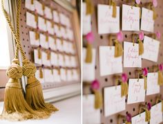 modern boho style escort card display with gold tassels