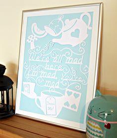 Alice in Wonderland Paper Cut Wall Art Papercut by ChibiChiDesigns, £11.00