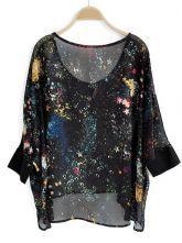 Black Three Quarter Length Sleeve Galaxy Print Chiffon Hi-lo Blouse $33.04