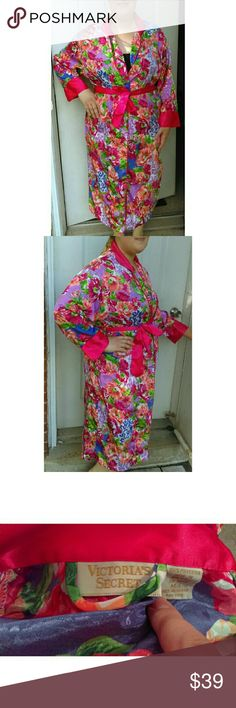 Vintage Victoria's Secret Kimono Robe Collectible Vintage and gorgeous! Bright colors: cherry red, peach/orange, deep violet, light purple, and green. Has a iridescent sheen. Excellent condition, no noticeable flaws. Kimono style, comes with matching sash, no pockets. Sized a Medium/Large, but model is plus size 16, so I marked as OSFM. Robe is Maxi length. Serious inquiries only please! No trades. Please ask any questions before buying! Smoke & pet free home. Ship fast with bonus gift…