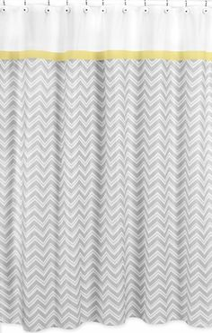 Yellow and Gray Chevron Zig Zag Kids Bathroom Fabric Bath Shower Curtain by Sweet Jojo Designs - Click to enlarge