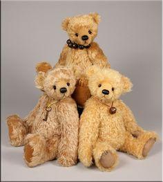 A trio of traditional teddy bears created by Paula Carter.