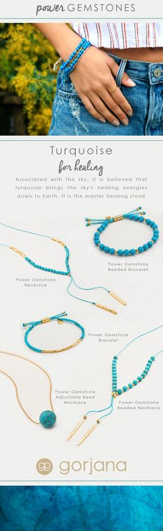 Discover all the gorjana Power Gemstone Turquoise for Healing Styles. Associated with the sky, it is believed that turquoise brings the sky's healing energies down to earth. Discover all the Power Gemstone Turquoise for Healing Styles.