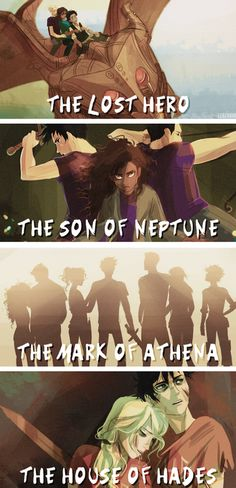Drawings of The Lost Hero, The Son of Neptune, The Mark of Athena, and the House of Hades. - The Heroes of Olympus Percy Jackson Fan Art, Memes Percy Jackson, Percy Jackson Characters, Percy Jackson Books, Percy Jackson Fandom, Viria Percy Jackson, Percabeth, Solangelo, Annabeth Chase