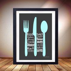 Kitchen Love Fork Knife Spoon Art Print Poster Aqua & Black Cafe Kitchen Cooking Baking Retro Design Wall Decor Modern 8 x 10 inches A4