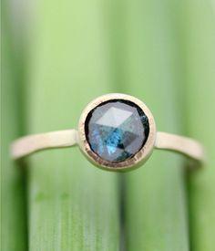 Rose Cut Blue Diamond In 14k Gold Ring