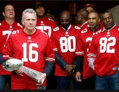 Harris Barton, Joe Montana, Jerry Rice, Roger Craig,John Taylor and Bubba Paris Sf Niners, Forty Niners, 49ers Players, Football Players, Nfl Football, Football Defense, Nfl 49ers, 49ers Fans, Joe Montana