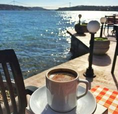 Morning coffee by the shore Coffee World, Coffee Is Life, I Love Coffee, Coffee Break, Best Coffee, My Coffee, Morning Coffee, Coffee Cafe, Coffee Shop