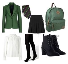"""""""Ilvermorny Horned Serpent Uniform"""" by wait-for-it ❤ liked on Polyvore featuring See by Chloé, Gitman Bros., Annarita N., Boohoo, Vera Wang, Zimmermann, Dickies, harrypotter and ilvermorny"""
