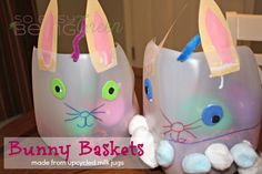 Your preschooler can make their own Easter basket out of milk jugs. Even if you don& use it for their basket, it& still fun to make. Then they can pretend to be the Easter bunny and leave eggs in it. Easter Crafts For Kids, Craft Activities For Kids, Easter Ideas, Craft Stick Crafts, Crafts To Make, Milk Jugs, Boyfriend Crafts, Easter Traditions, Thing 1