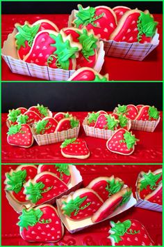 Strawberry shaped sugar cookies