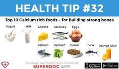 """Top 10 Calcium rich foods"" Heath Tips, Calcium Rich Foods, Strong Bones, Milk And Cheese, Daily Health Tips, Salmon, Top, Atlantic Salmon, Crop Tee"