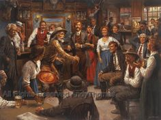 Andy Thomas Artist Tales of the Old West art prints portraying a Western Saloon with storytellers including Mark Twain, Jim Baker, Zane Grey, Jack London Old West, Westerns, Cowboy Art, Cowboy Pics, Western Cowboy, Roman Soldiers, West Art, Le Far West, Mountain Man