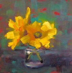 "Daily Paintworks - ""Gerber Jar Daisies, 6x6"" - Original Fine Art for Sale - © Ann Feldman"