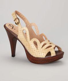 Nude Cutout Weave Leather Platform Sandal by Passarela Brazil