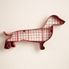 One of my favorite discoveries at WorldMarket.com: Red Metal Dachshund Wall Storage