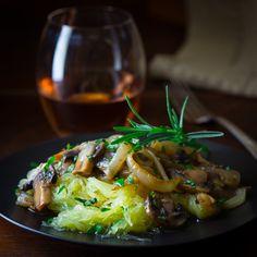 Spaghetti squash with mushroom rosemary sauce food mushroom food ideas recipes food pictures food recipes gluten free recipes gluten free food spaghetti squash rosemary sauce