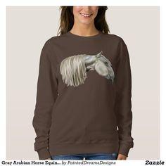 Gray Arabian Horse Equine Portrait Sweatshirt