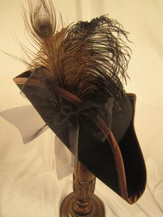 Pirate Black Felt Hat with Brown edge Black & by JillieKatHats, $79.00