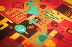 """What do you think about these Chinese inspired illustrations for Malaysian delivery company """"At Home Creative"""" created the illustrations. Human Vector, Red Packet, Oriental Design, Chinese New Year, Sticker Design, Cover Design, Creative Design, Retro Fashion, Design Inspiration"""