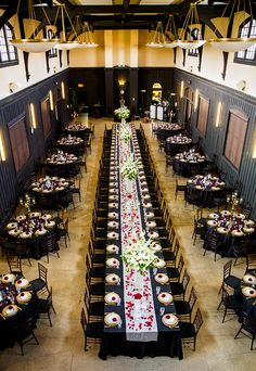Black, Gold, & Red Wedding Reception at Magical Fairy Tale Themed Wedding Wedding Table Layouts, Wedding Reception Layout, Wedding Seating, Wedding Tables, Black Wedding Cakes, Purple Wedding, Dream Wedding, Black Red Wedding, Nautical Wedding
