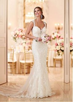 Buy discount Fabulous Tulle Sweetheart Neckline Mermaid Wedding Dresses with Beaded Lace Appliques at Dressilyme.com