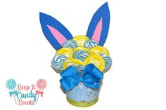 Blue and Yellow Easter Bunny Lollipop Arrangement by KeepItCandy
