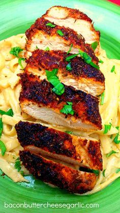 BLACKENED CHICKEN WITH CAJUN FETTUCCINE ALFREDO -- Bacon, Butter, Cheese & Garlic: Double Spicy