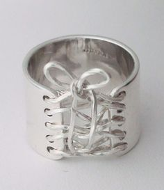 Handmade Sterling Silver Wide Band Wired Corset Ring - Auralee Company #AuraleeCompany