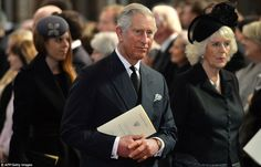 Sombre: The Royals on their way out of the memorial service on Thursday afternoon (13 March 2013).