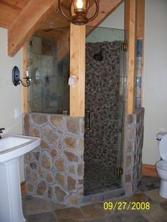 river rock showers | Rock and stone shower - The Log Home Neighborhood
