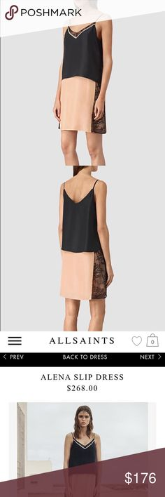 Alena Dress Slip style dress, not see through at all. New with tags All Saints Dresses