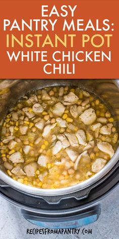 Instant Pot White Chicken Chili (GF, Pantry Meal) - Recipes From A Pantry Instant Pot Chicken Thighs Recipe, Best Instant Pot Recipe, Instant Pot Dinner Recipes, Supper Recipes, Lunch Recipes, Soup Recipes, Chicken Recipes, Potted Beef Recipe, Easy One Pot Meals