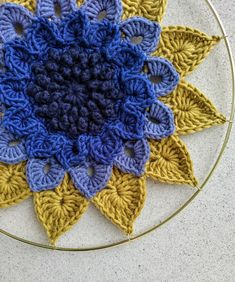 Lime Green African Flower Hexagon Potholder Floral Hot Pad Emerald Green and Yellow Double Thick Crochet Trivet