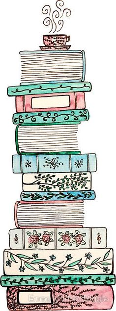 """""""Pink and Blue Floral Bookstack"""" Stickers by Emma Mildred Riggle Buch Design, Book Drawing, Stack Of Books, Bullet Journal Layout, Book Nerd, Doodle Art, Cute Drawings, Book Lovers, Bookmarks"""