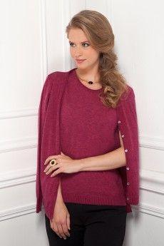 Le gilet coulis tricoté en laine Cashwool®. Maille de fabrication française.