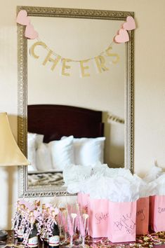 bachlorette party ideas Tips on how to make sure your Hotel Bachelorette Party is extra special! Decor ideas, money-saving tips, and easy DIY hotel room transformation tricks! Bachelorette Slumber Parties, Bachelorette Party Planning, Bachlorette Party, Bachelorette Party Decorations, Bachelorette Weekend, Bachelorette Party Pictures, Bachelorette Lingerie Party, Hen Party Decorations, Hotel Party