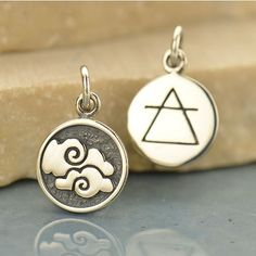1 pc ~ Sterling Silver 4 Elements: Air Charm ~ 2 sided
