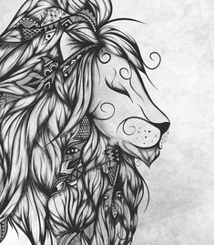 Shop for unique nursery art like the Poetic Lion B and W Art Print by loujah on BoomBoomPrints today! Customize colors, style and design to make the artwork in your baby's room their own! Leo Tattoos, Badass Tattoos, Future Tattoos, Body Art Tattoos, Tattoo Ink, Tattos, Cover Up Tattoos For Women, Animal Tattoos For Women, Back Tattoo Women
