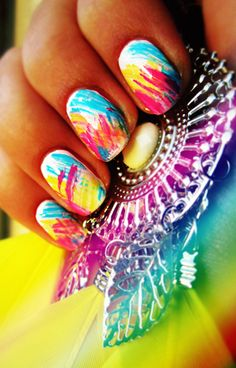 Colorful nails, very artsy!