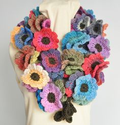 Floral Fall Long Multicolor Crochet Flowers long by jennysunny